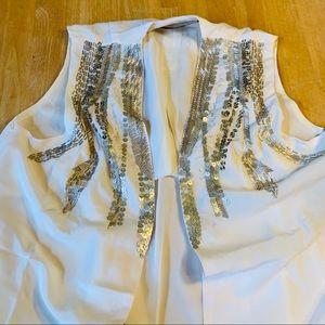 Love Stitch White and Silver Sequin Tunic Vest